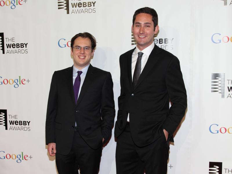 Mike Krieger (left) and Kevin Systrom, co-founders of Instragram, attend the Webby Awards in 2012 in New York.