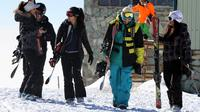 Skiers at a resort in the Alborz mountains near the capital Tehran in January. Men and women used to ski separately in Iran. In recent years, they have been skiing together, though it is not formally authorized.