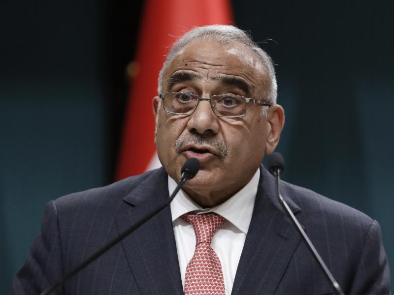 Iraqi Prime Minister Adel Abdul-Mahdi speaks to the media during a joint news conference with Turkish President Recep Tayyip Erdogan, in Ankara, Turkey, in May.
