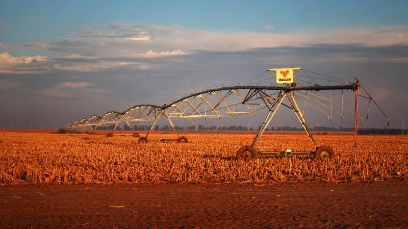 The long arms of pivot irrigation rigs deliver water from the Ogallala Aquifer to circular fields of corn in northwestern Kansas. A new study suggests many of the world's rivers and streams could dry up because people are draining underground aquifers tha