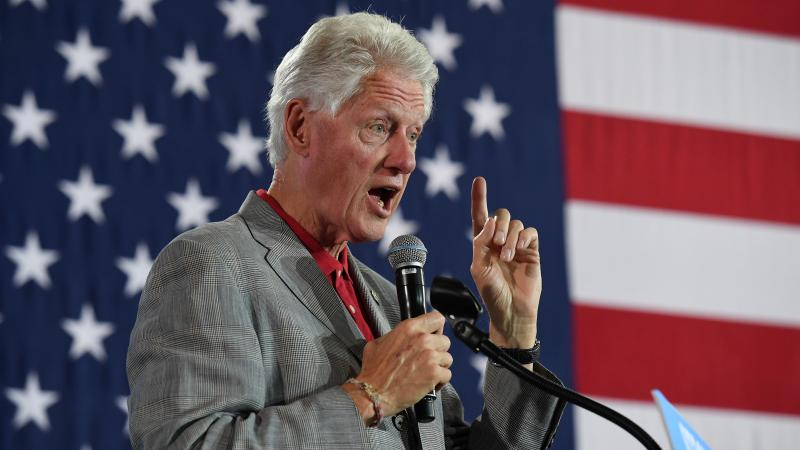 Former President Bill Clinton speaks at a campaign event for Democratic nominee Hillary Clinton at a college campus in Nevada.