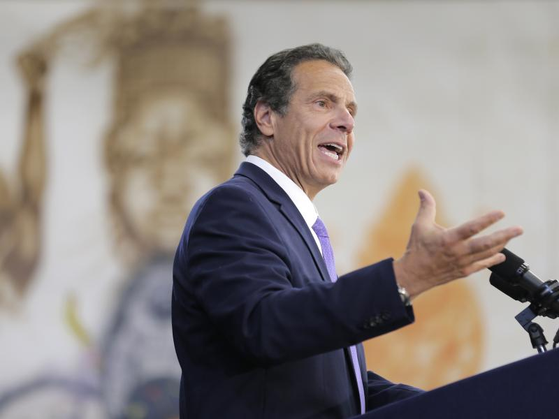 """New York Gov. Andrew Cuomo, shown here speaking at an event last month, has described the NRA's lawsuit against him as """"frivolous."""""""