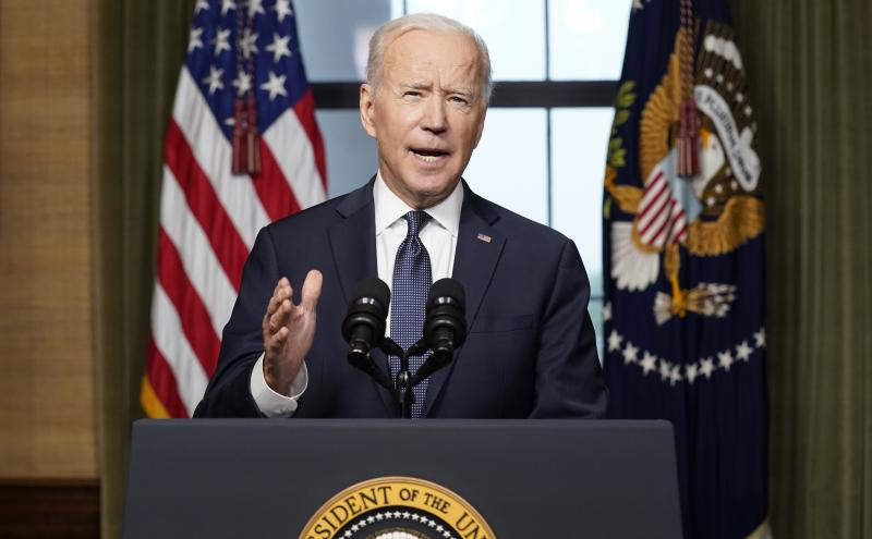 President Biden speaks from the Treaty Room in the White House on Wednesday to announce the withdrawal of the remainder of U.S. troops from Afghanistan.