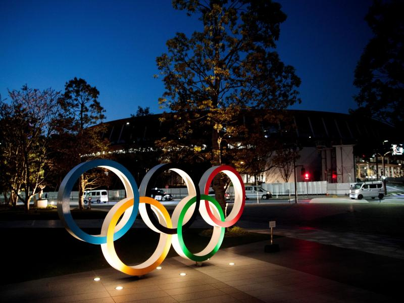 The Olympic rings displayed outside the National Stadium, a venue for the 2020 Olympic Games, in Tokyo on April 7. The games have been delayed until 2021 because of the coronavirus.