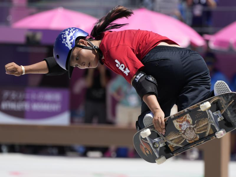 Sakura Yosozumi of Japan competes in the women's park skateboarding finals at the Summer Olympics on Wednesday. She won gold and continued Japan's dominance in the new sport.
