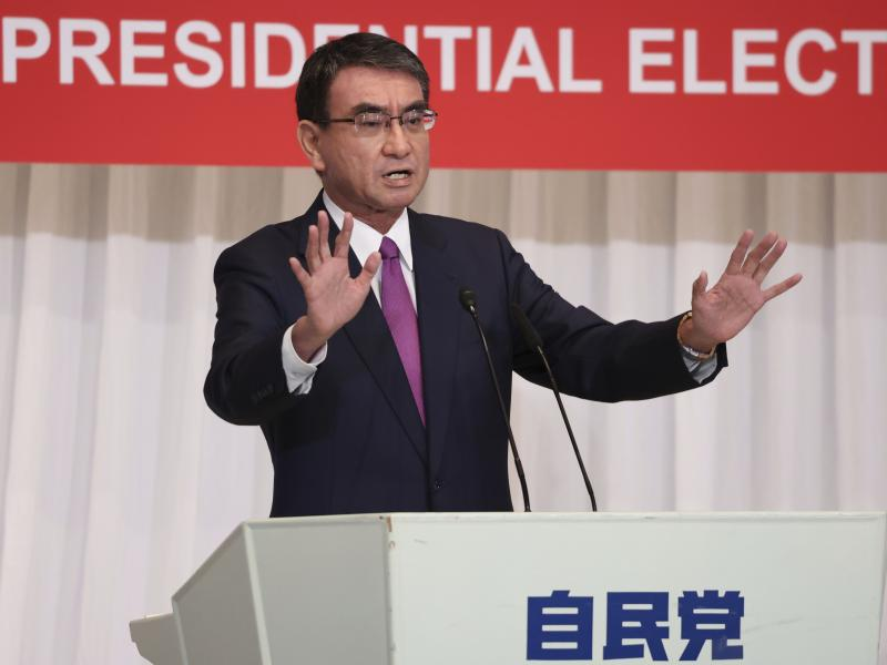 Taro Kono, a candidate of the ruling Liberal Democratic Party and currently the minister in charge of vaccinations, delivers a speech in Tokyo on Sept. 17.
