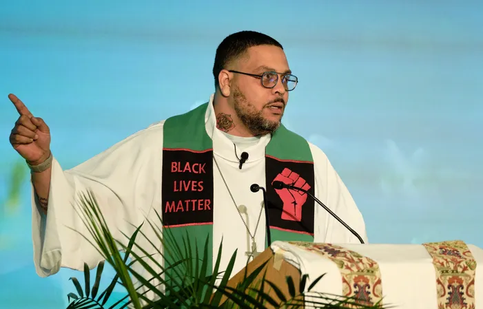 The Rev. Lenny Duncan, here in May 2019, at the Metropolitan New York Synod Assembly of the Evangelical Lutheran Church in America.