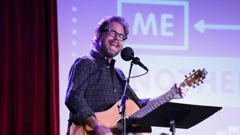 Jonathan Coulton leads a music parody game on Ask Me Another at the Bell House in Brooklyn, New York.