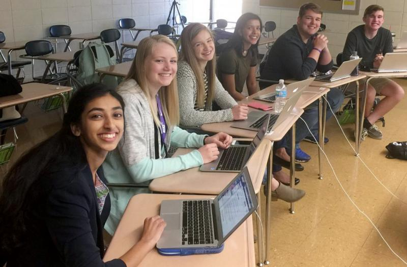 Students Gina Mathew (from left), Kali Poenitske, Maddie Baden, Trina Paul, Connor Balthazor and Patrick Sullivan at Pittsburg High School in Pittsburg, Kan. When reporters for the student newspaper there dug into the credentials offered by their new prin