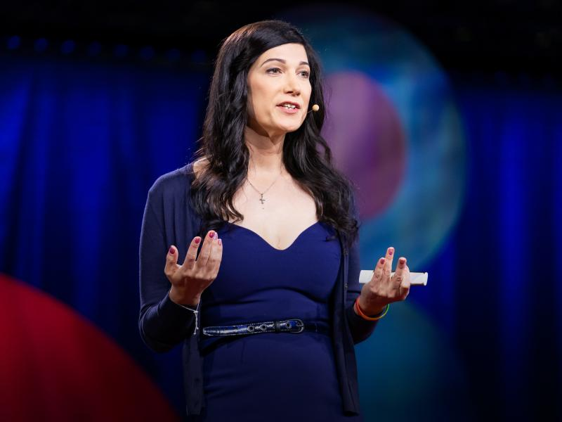 Karissa Sanbonmatsu speaks at TEDWomen 2018. Photo: Marla Aufmuth