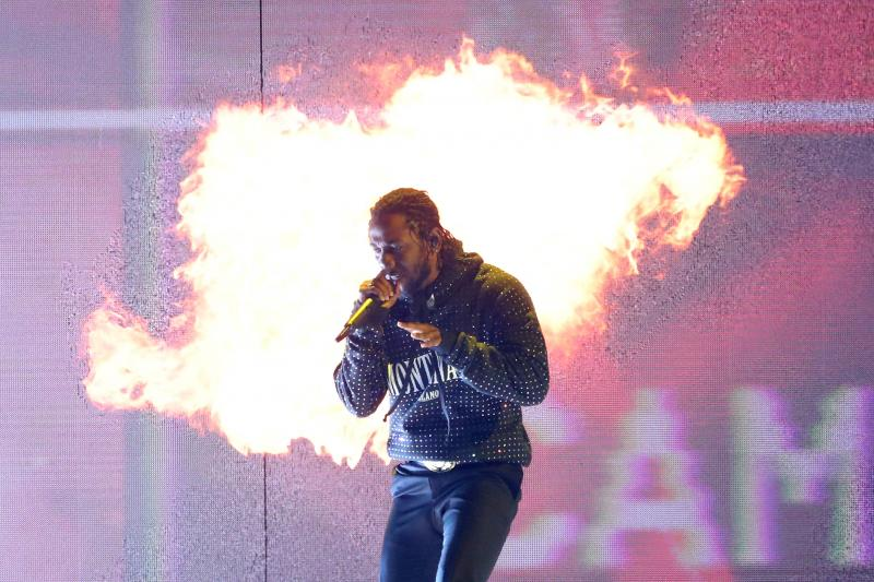 Kendrick Lamar, whose album DAMN. won this year's Pulitzer Prize for music, performs in London earlier this year.