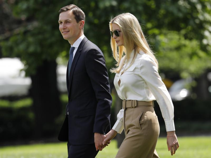 Jared Kushner and Ivanka Trump walk on the South Lawn of the White House to board Marine One on their way to the Camp David presidential retreat in Maryland on June 1, 2018.