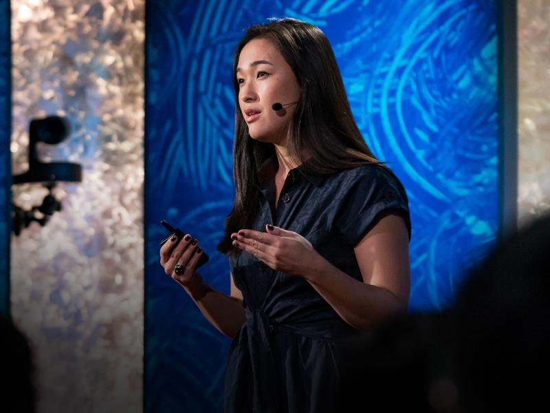 Liz Kleinrock on the TED stage.
