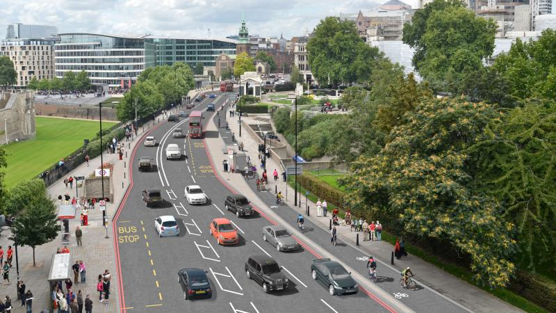 An artist's conception of the two-way cycle track on Tower Hill. The track is part of London's new plan to boost its bicycle infrastructure.