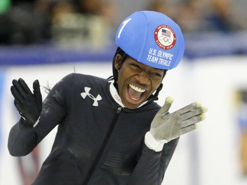 Maame Biney reacts after winning the women's 500-meter A final race during the U.S. Olympic short track speedskating trials in December.