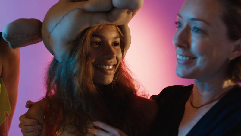 Madeline (Helena Howard, L) and Evangeline (Molly Parker, R) share a moment in Madeline's Madeline.