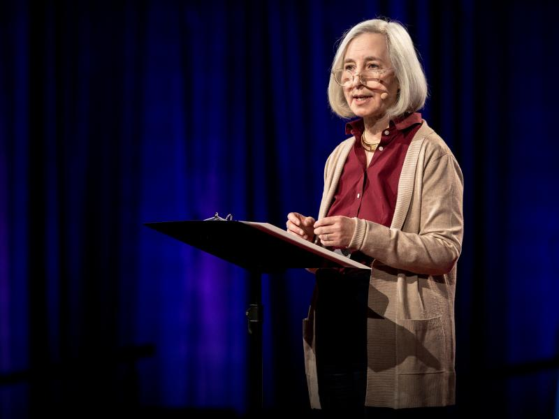 Harvard law professor Martha Minow speaks from the TED stage.