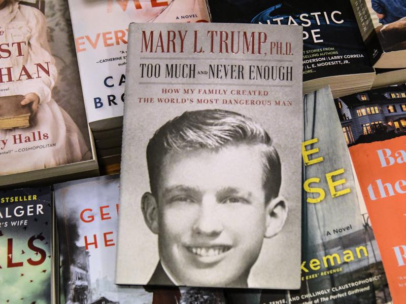 A display of Mary Trump's new book about her uncle. A judge freed President Trump's niece this week from a restraining order restricting her from discussing the book.