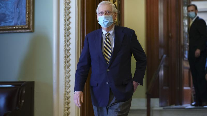 Senate Majority Leader Mitch McConnell, R-Ky., leaves the chamber Monday after speaking about the death of Justice Ruth Bader Ginsburg. McConnell made the case on the Senate floor that voters elected a GOP majority to confirm judicial nominees.