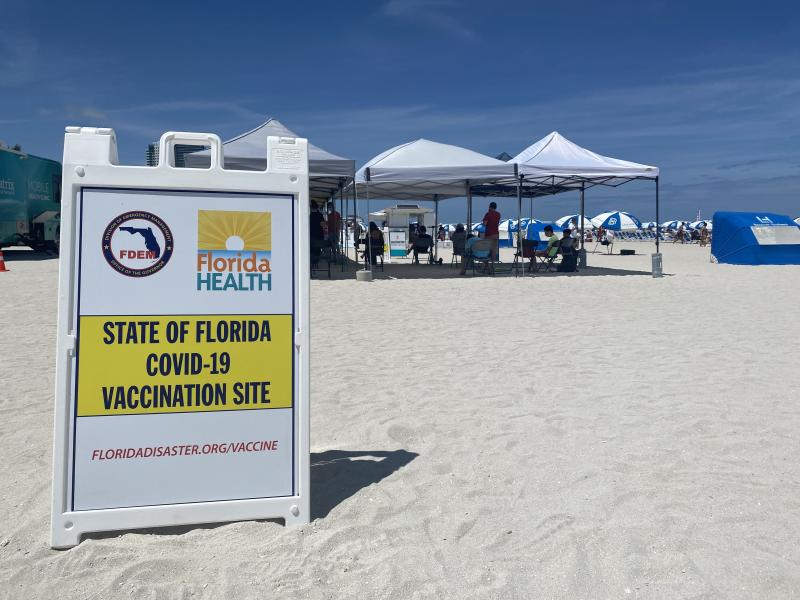 Miami Beach had a vaccination event on the sand for people to walk up and get a Johnson & Johnson shot on May 2.