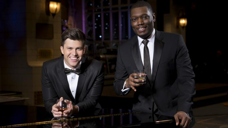 Colin Jost and Michael Che will host the Emmy Awards on Monday, Sept. 17, on NBC.