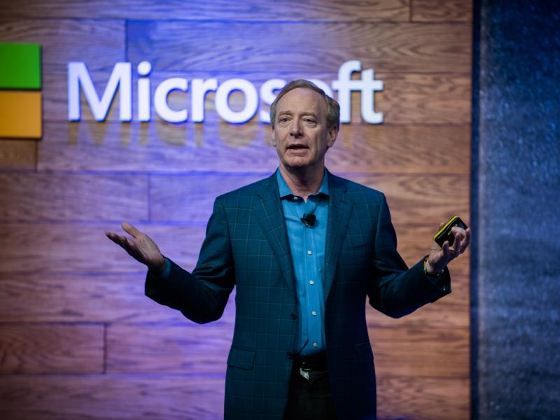 Brad Smith, president of Microsoft Corp., speaks during a presentation on affordable housing in Bellevue, Wash., on Thursday. Microsoft Corp. said it will spend $500 million to develop affordable housing and help alleviate homelessness in the Seattle area