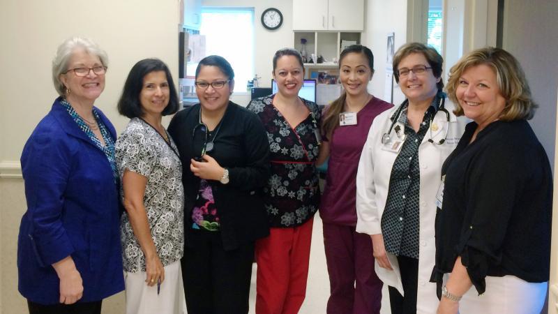 The staff at the Charlotte Community Health Clinic: Nancy Hudson (left), Maria Elena Solanilla, Tonya Luna, Lisa Ortiz-Fraticelli, Charm May Agustin, Martha Brinsko and Tamara Withers-Thompson.