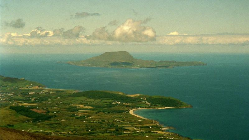 The view from a peak in County Mayo, Ireland. An island off the coast is inviting any Americans afraid of the election results to move there, and grow their population.