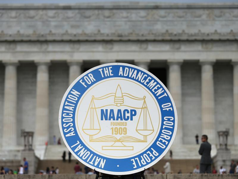 The NAACP is planning to relocate its headquarters to Washington, D.C. Here, the civil rights organization's logo is shown during a 2015 event in the city.