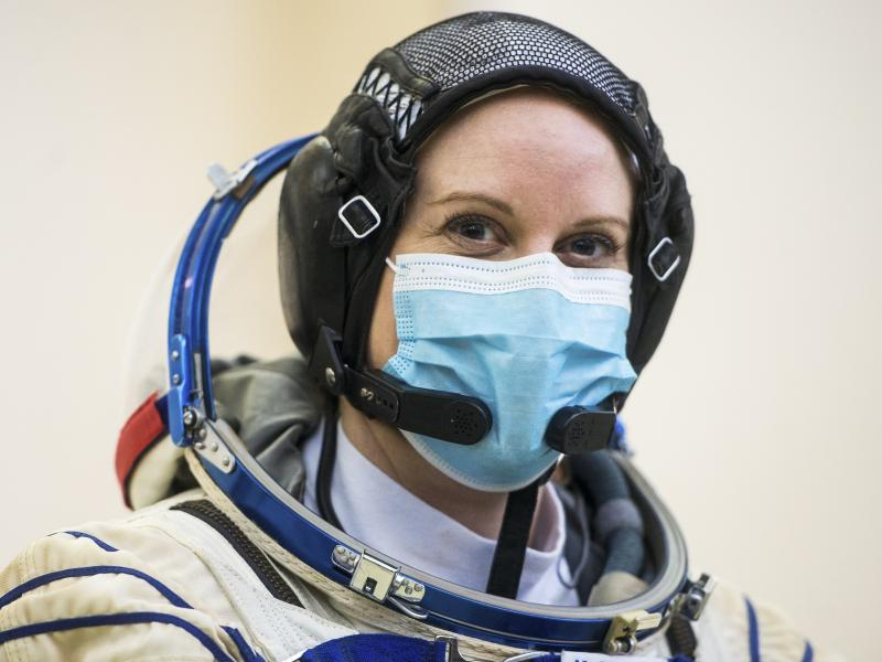 NASA astronaut Kate Rubins participates in Soyuz qualification exams on Wednesday at the Gagarin Cosmonaut Training Center just outside Moscow.