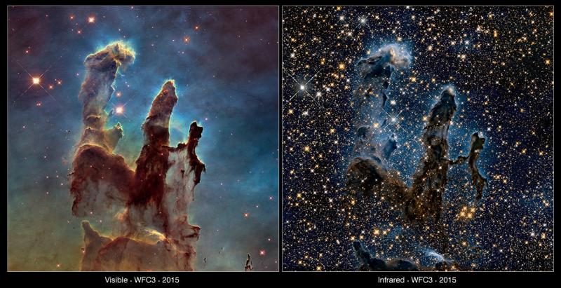 """Two views of the Eagle Nebula's """"Pillars of Creation,"""" both taken by the Hubble Space Telescope. The left shows the pillars in visible light; the right image was taken in infrared light."""