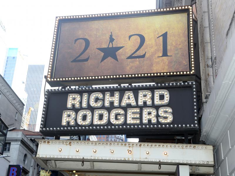 """A sign of the """"Hamilton"""" marquee at New York City's Richard Rogers Theater on Mar. 12, 2021, commemorating Broadway's """"lost year"""" and a hope to return to live performances by fall 2021."""