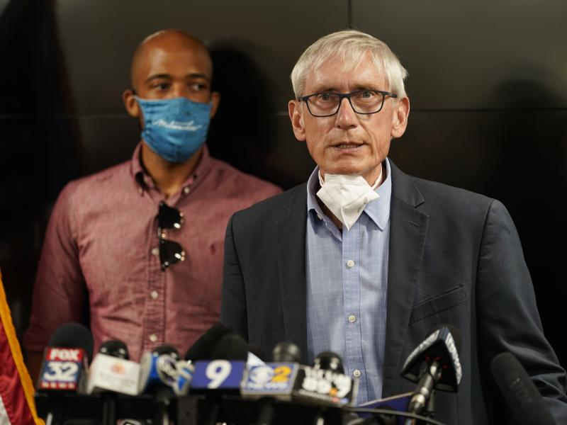 Wisconsin Gov. Tony Evers announced the National Guard will be deployed ahead of a decision whether to charge a police officer who shot Jacob Blake last year. Evers is seen during a press conference in August.
