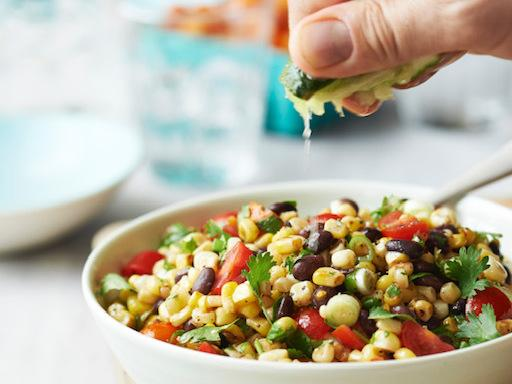 Freitag says her corn salad — from her book, The Chef Next Door — is a simple dish prepared with mostly pantry items.