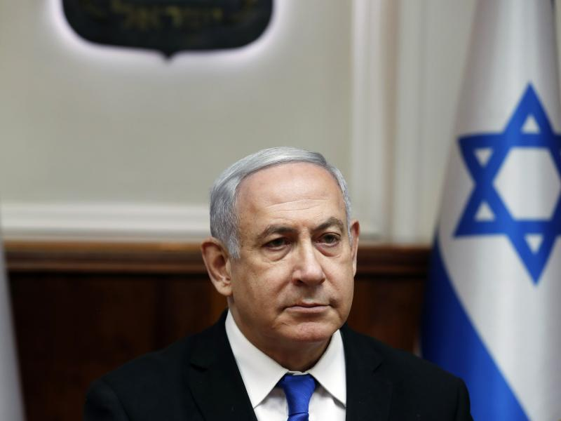 Israeli Prime Minister Benjamin Netanyahu attends the weekly Cabinet meeting in Jerusalem on Sunday.