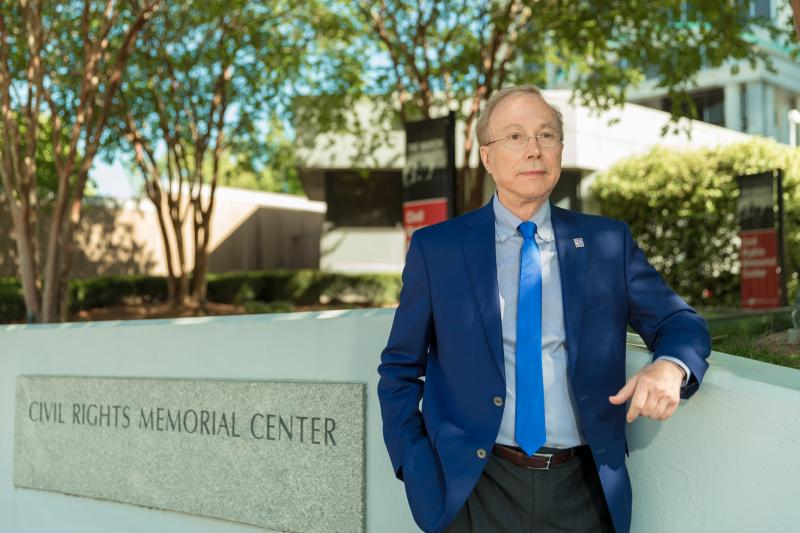 Alabama Tourism Director Lee Sentell stands near the Civil Rights Memorial. Erected by the Southern Poverty Law Center in 1989, it was among the first monuments in Montgomery recognizing civil rights martyrs.