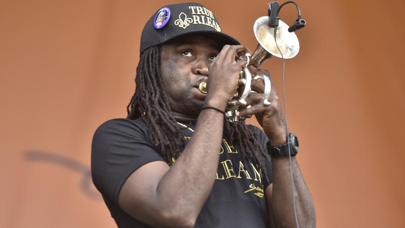 Shamarr Allen performs during the 2019 New Orleans Jazz & Heritage Festival 50th Anniversary at Fair Grounds Race Course on May 04, 2019 in New Orleans.