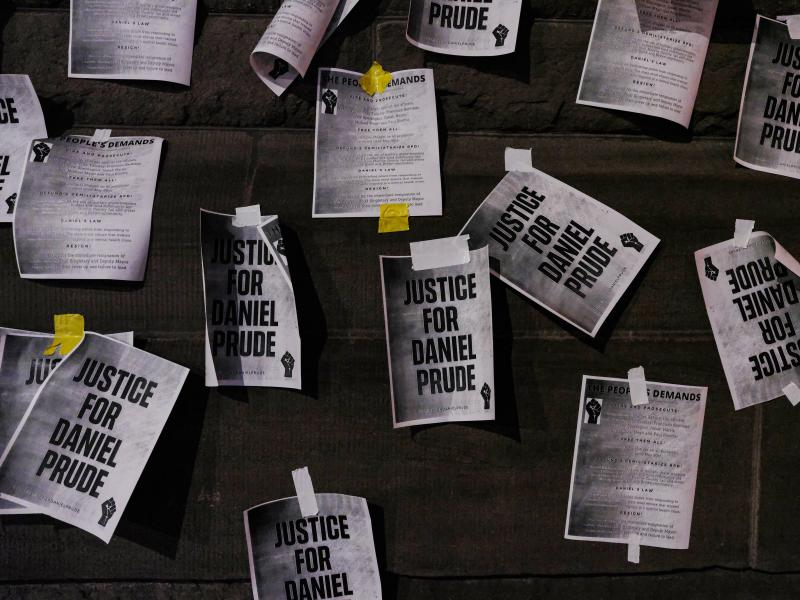 "Signs calling for ""Justice for Daniel Prude"" were plastered to the exterior walls of City Hall in Rochester, N.Y., on Sept. 8, the seventh consecutive night of protests following the release of bodycam footage showing the March arrest that preceded his de"