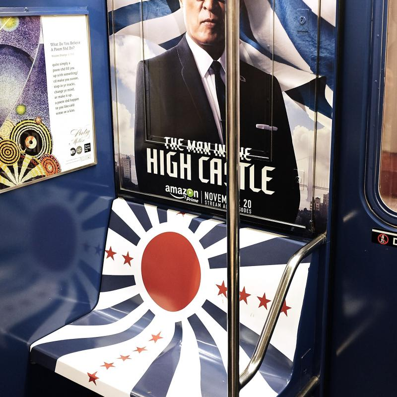 The ads for The Man In The High Castle were pulled from the New York subway. Part of the advertisement covered seats in a design that evoked Japan's rising sun flag.