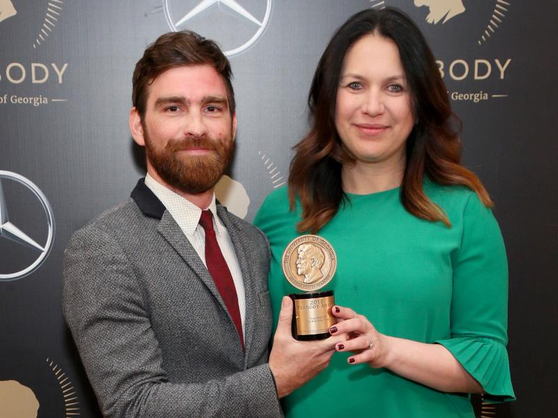 Rukmini Callimachi and colleague Andy Mills pose with their Peabody Award for Caliphate at the 78th Annual Peabody Awards Ceremony in May 2019. The New York Times says it is returning the award.