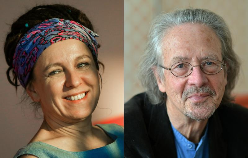 Polish author Olga Tokarczuk (left) won the postponed 2018 Nobel Prize for literature and Austrian novelist and playwright Peter Handke won the 2019 award. The Swedish Academy did not hand out a prize last year due to scandal.