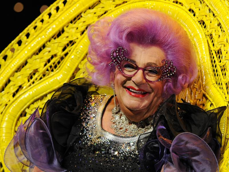 Australian comedian Barry Humphries as legendary housewife Dame Edna Everage appears at a press conference in Sydney on July 5, 2012.