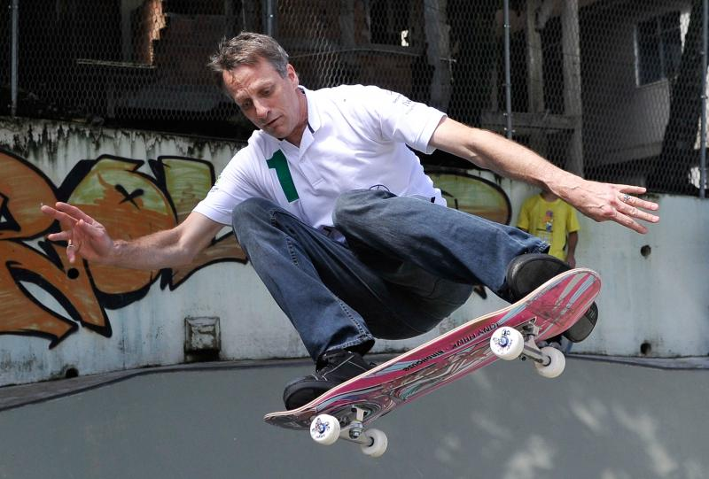 Tony Hawk skateboards in Rio de Janeiro, Brazil, on March 11, 2013.