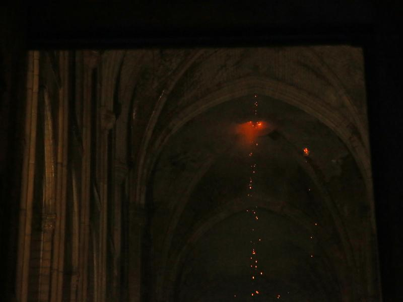 A view from inside Notre Dame Cathedral during the fire in Paris on Monday.