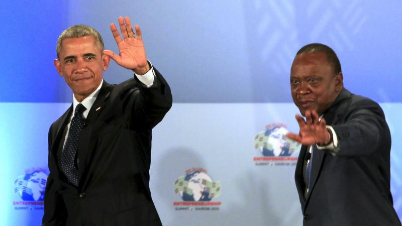 President Obama and Kenya's President Uhuru Kenyatta onstage after delivering remarks at the Global Entrepreneurship Summit at the United Nations compound in Nairobi, on Saturday.