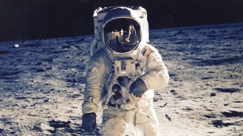 "Astronaut Edwin ""Buzz"" Aldrin Jr. walks near the lunar module during the Apollo 11 moon landing on July 20, 1969."