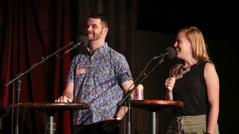 Contestants Brett Greenfield and Ashley Davis appear on Ask Me Another at the Bell House in Brooklyn, New York.