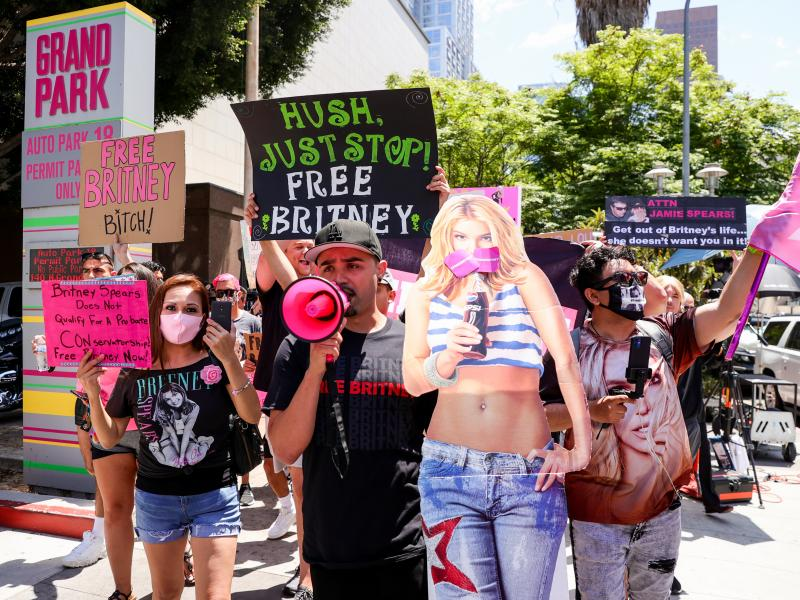 Supporters of Britney Spears protesting during her conservatorship hearing in Los Angeles on Wednesday.