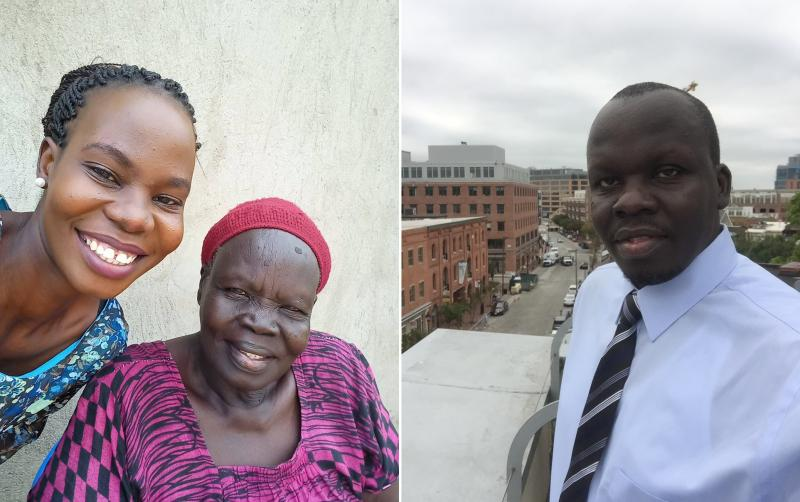 """Elizabeth (in purple), who lives in South Sudan, is undecided about getting a COVID vaccine. She's heard rumors that make her think it's not a good idea. Her daughter, Nancy, (left) is newly vaccinated. Her son, Dr. Edward Kenyi, is lobbying his """"mum"""" to"""