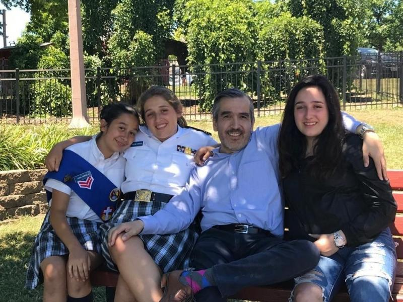 Lucio Arreola and his daughters Lucia (from left), Paulina and Maria.
